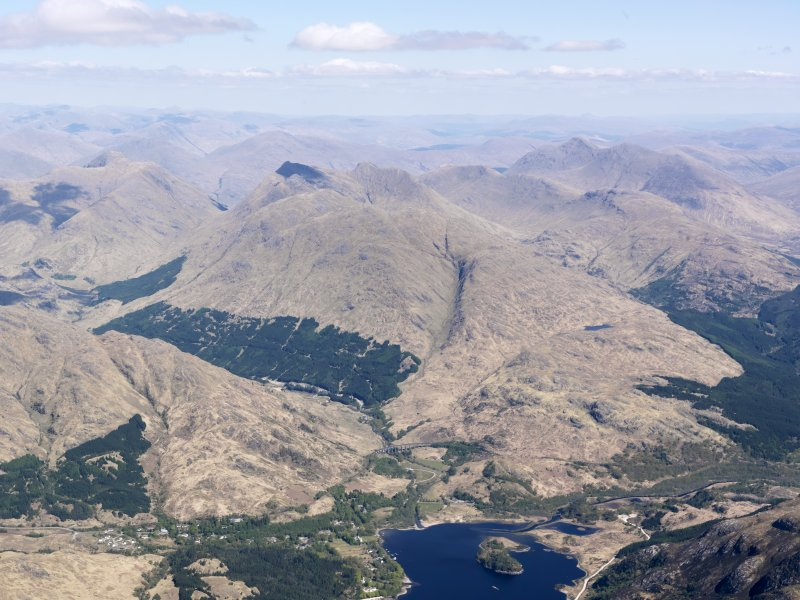 General oblique aerial view looking up Loch Shiel towards Glenfinnan, taken from the SW.