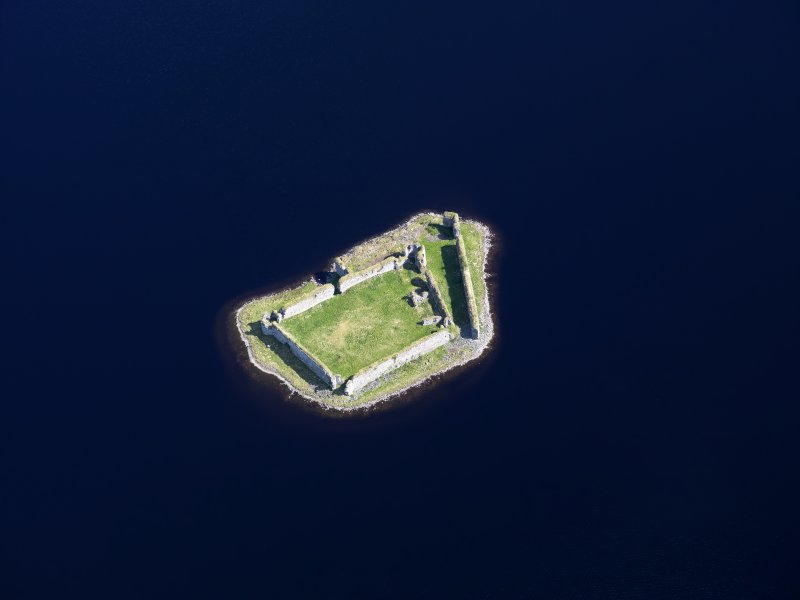 Oblique aerial view of Lochindorb Castle, taken from the SW.