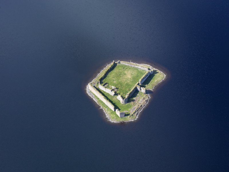 Oblique aerial view of Lochindorb Castle, taken from the ENE.