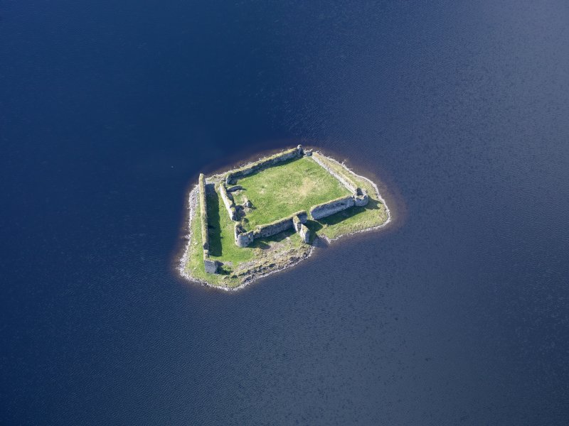 Oblique aerial view of Lochindorb Castle, taken from the NE.