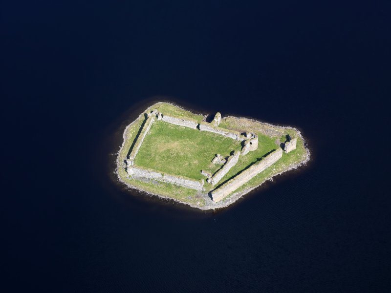 Oblique aerial view of Lochindorb Castle, taken from the S.
