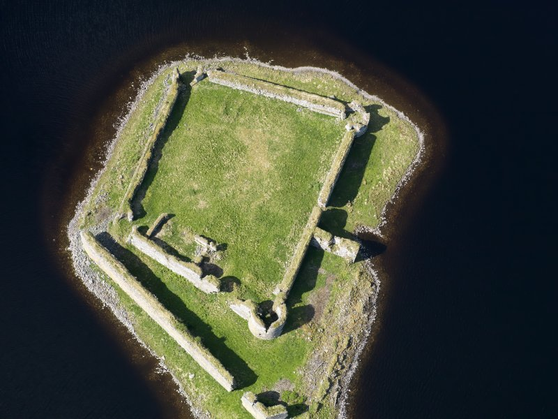 Oblique aerial view of Lochindorb Castle, taken from the E.