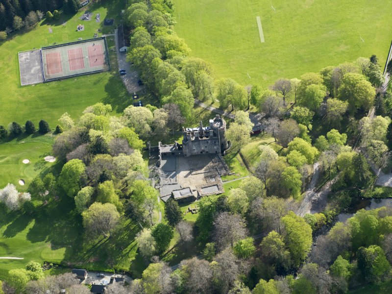 Oblique aerial view of Huntly Castle, taken from the NNE.