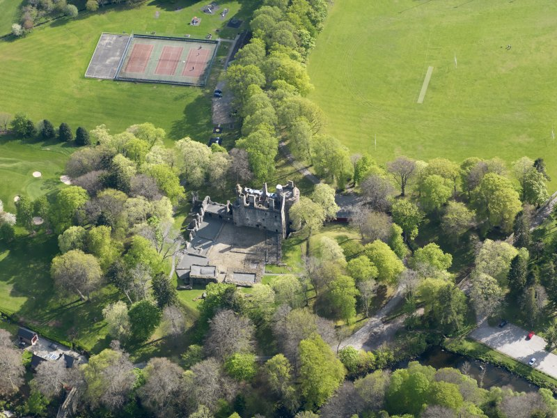 Oblique aerial view of Huntly Castle, taken from the N.