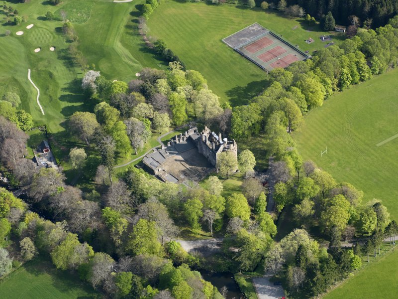 Oblique aerial view of Huntly Castle, taken from the NW.