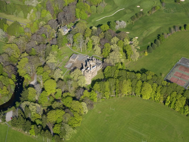 Oblique aerial view of Huntly Castle, taken from the WSW.
