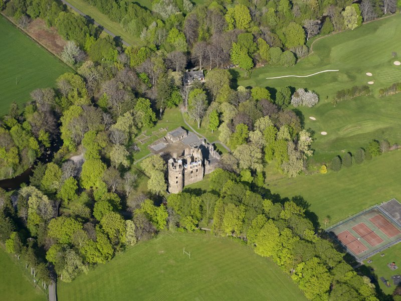 Oblique aerial view of Huntly Castle, taken from the SW.