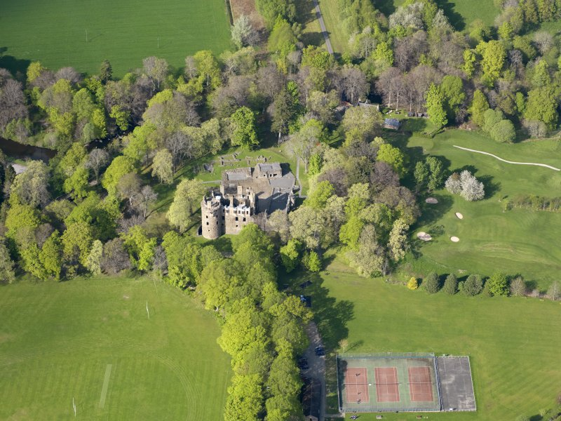 Oblique aerial view of Huntly Castle, taken from the S.