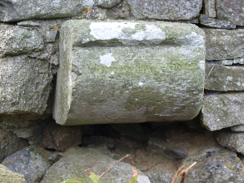 Avochie Castle: detail of W gable chimney stone