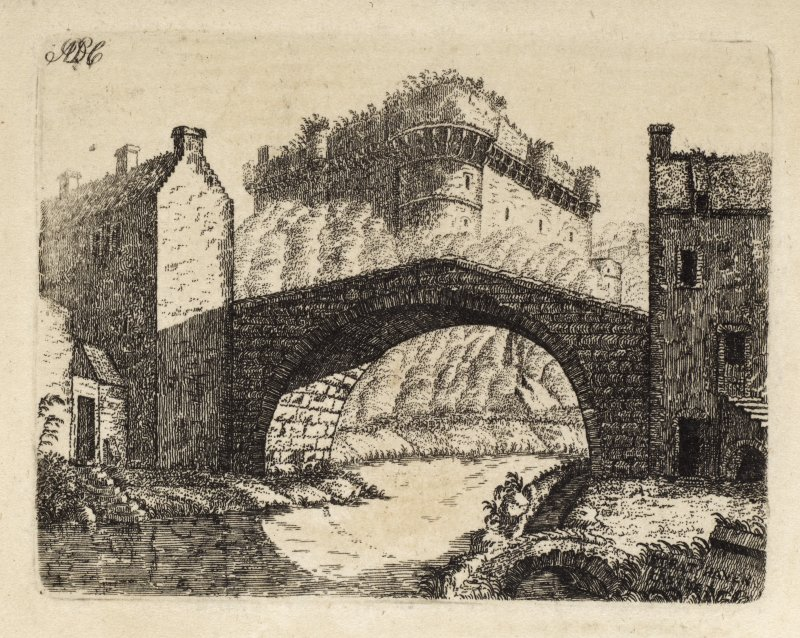 "Engraving of Avondale Castle seen beyond a single-span bridge. Titled 'Strathaven. The castle of Strathaven is beautifully situated on the banks of the river Avon, in the county of Lanark. There is no certqain tradition as to the year in which it was built. It is generally supposed to have been by Andrew, first Lord Avendale, who was created in 1456. The barony and lordship of Avendale were exchanged by Andrew the third Lord with Sir James Hamilton of Fynnart, for the barony of Ochiltrie in Ayrshire. They afterwards came into the Duke of Hamilton's family, whose property they still remain. ADC.' [Adam de Cardonnel, ""Picturesque Antiquities of Scotland,"" 1788.]"