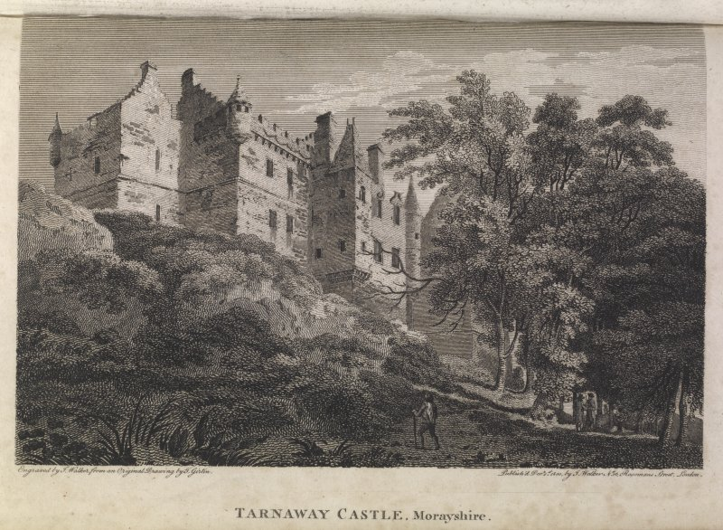 Engraving of Darnaway Castle, seen from below. Titled 'Tarnaway Castle, Morayshire. Engraved by J. Walker from an original Drawing by T. Girtin. Published Decr. 1, 1800 by J. Walker, No.16 Rosoman's Street, London.'