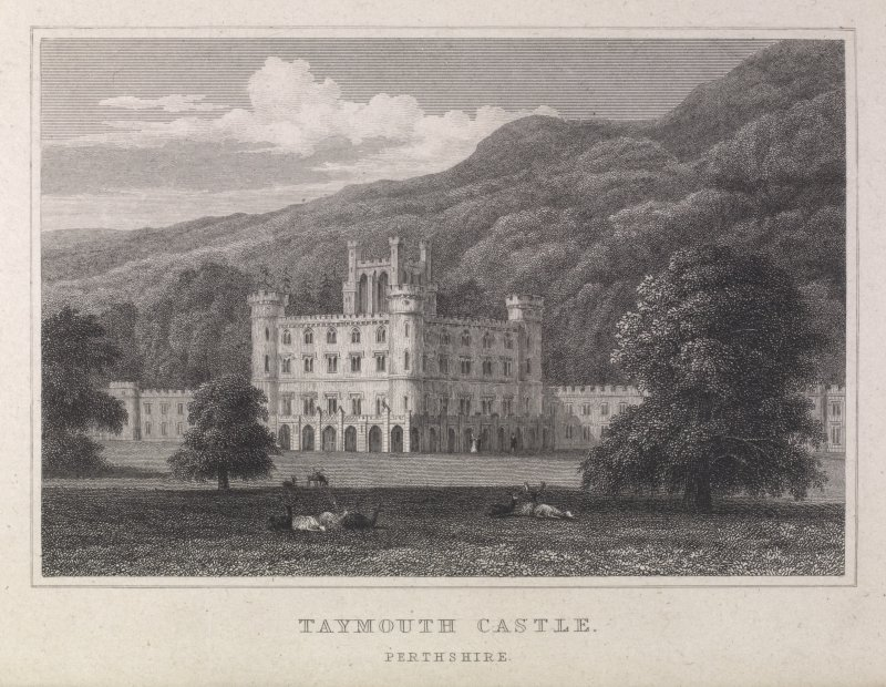 Engraving of Taymouth Castle from the grounds. Titled 'Taymouth Castle, Perthshire.'