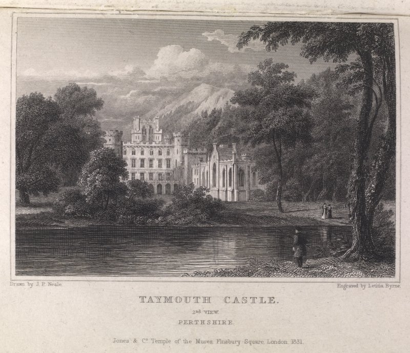 Engraving of Taymouth Castle showing chapel & adjacent front. Titled 'Taymouth Castle, 2nd view, Perthshire. Jones & Co. Temple of the Muses, Finsbury Square, London 1831. Drawn by J. P. Neale. Engraved by Letitia Byrne.' On reverse in pencil 'C22176.'