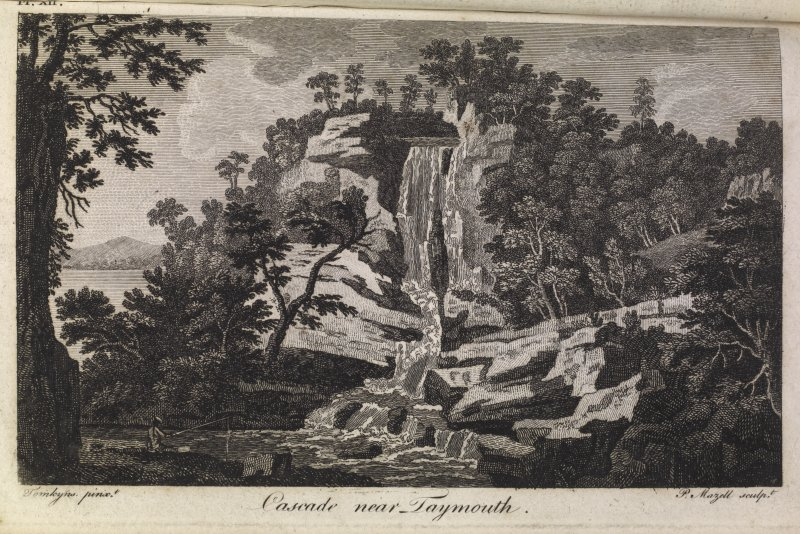 Engraving showing a waterfall. Titled 'Pl. XII, Cascade near Taymouth. Tomkyns pinxt. P Mazell sculpt.'
