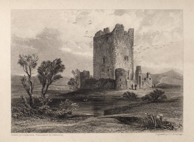 Engraving of Threave Castle, showing tower & curtain walls. Titled 'Thrieve. Drawn by G. Catermole from a sketch by J. Skene. Esq. Engraved by J. C. Armytage. Minstrelsy.' [See RAB292/286.]