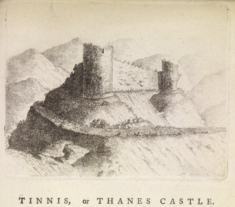 "Engraving of Tinnis Castle from the NW. Titled 'Tinnis or Thanes Castle. Situated on the summit of a hill, on the north side of the burn of Pow Sail, which separates the church of Drumelzier from the grave of Merlin Caledonicus, near the head of Drumelzier haugh in Twedale, where this small rivulet falls ino Tweed. From the town of Drumelzier to the Castle a road has been cut, winding round the hill, which is very steep. This strong hold in former times belonged to the ancientThanes of Twedale, from whom it seems to have got its name. In the reign of Malcolm II. this Castle appears to have belonged to William de Tweedie, Lord Baron of Drumelzier. It is now the property of - Hay, Esq. of Drumelzier. This view is taken from the N. W. 1788.' [Adam de Cardonnel, ""Picturesque Antiquities of Scotland,"" 1788.]"