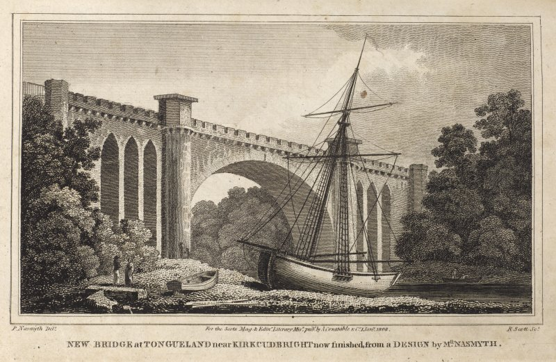 Engraving Of Tongland Bridge. Titled 'New Bridge at Tongueland near Kirkcudbright, now finished, from a design by Mr Nasmyth. P Nasmyth delt. R.Scott Sct. For the Scots Mag. & Edinr. Literary Misy. pub. by A. Constable & Co. 1 Jany 1808.'