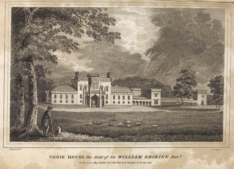 Engraving of Torrie House, south front, from the lawn. Titled 'Torie House, the seat of Sir William Erskine Bart. J. Burnet delt. R. Scott Sc. For the Scots. Mag & Edinr. Lity. Misy Pub. by A. Constable & Co. 1 June, 1811.'