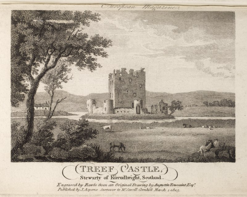 Engraving of Threave Castle showing tower & curtain walls. Titled 'Treef Castle, Stewartry of Kircudbright, Scotland. Engraved by Rawle from an original drawing by Augustin Toussaint Esq. Published by J. Asperne, successor to Mr. Sewell, Cornhill, March 1 1803.' [See RAB292/279.]