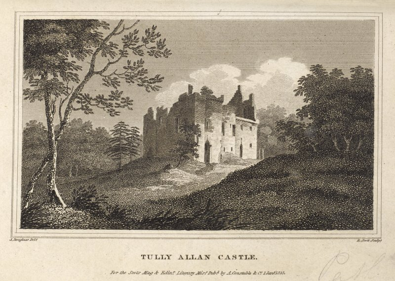 Engraving of Tulliallan Castle in its setting. Titled 'Tully Allan Castle. J. Douglass delt. R. Scott Sculpt. For the Scots Mag & Edinr. Literary Misy. published by A. Constable & Co. 1 June, 1815.'