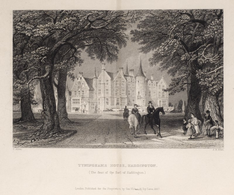 Engraving of Tyninghame House, front view from driveway. Titled 'Tyninghame House, Haddington (The seat of the Earl of Haddington.) T. Allom. J.B.Allen. London, Published for the Proprietors by Geo. Virtue, 26 Ivy Lane, 1837.'