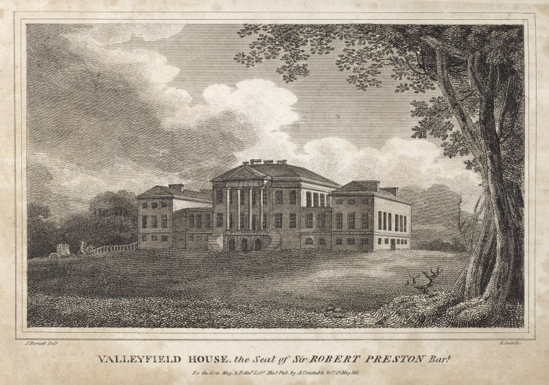 Engraving of Valleyfield House from the lawns. Titled 'Balleyfield House, the seat of Sir Robert Preston Bart. J. Burnett delt. R Scott Sc. For the Scots Mag & Edinr. Lity. Misy. Pub. by A Constable & Co. 1 May 1811.'