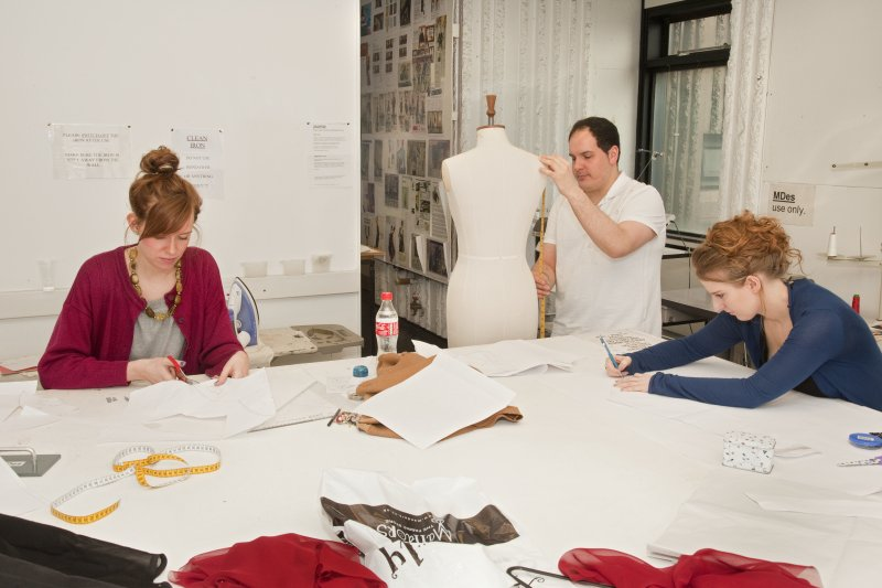 View of students working within the studio space of the textiles department in the Newbery Tower