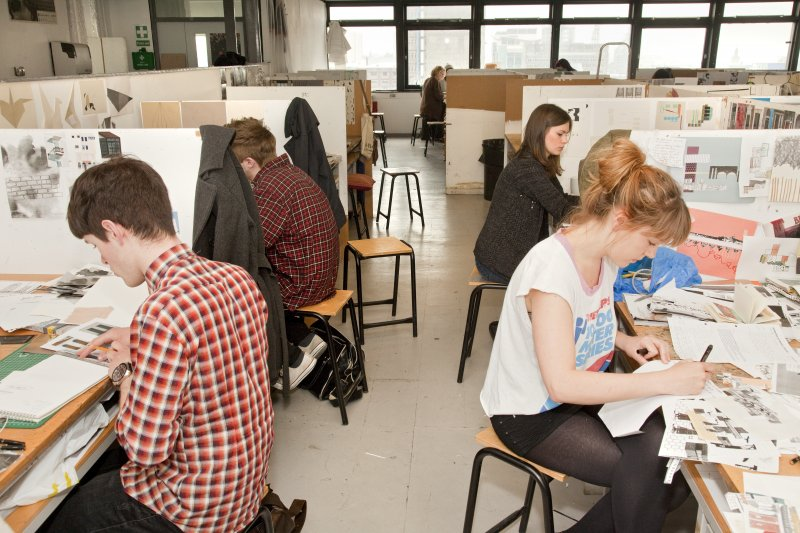 View of students working in the studio space of the Textiles department within Newbery Tower
