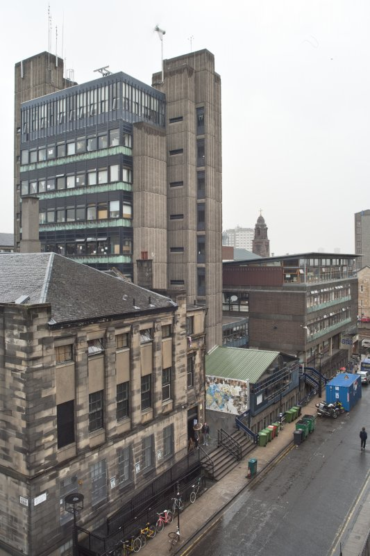 View looking east along the north side of Renfrew Street, showing the Student Union, Newbery Tower with refectory extension and Foulis Building, taken from the roof of the Bourdon Building