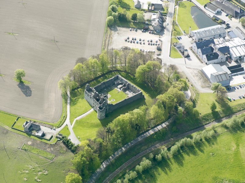Oblique aerial view of Balvenie Castle, taken from the ENE.