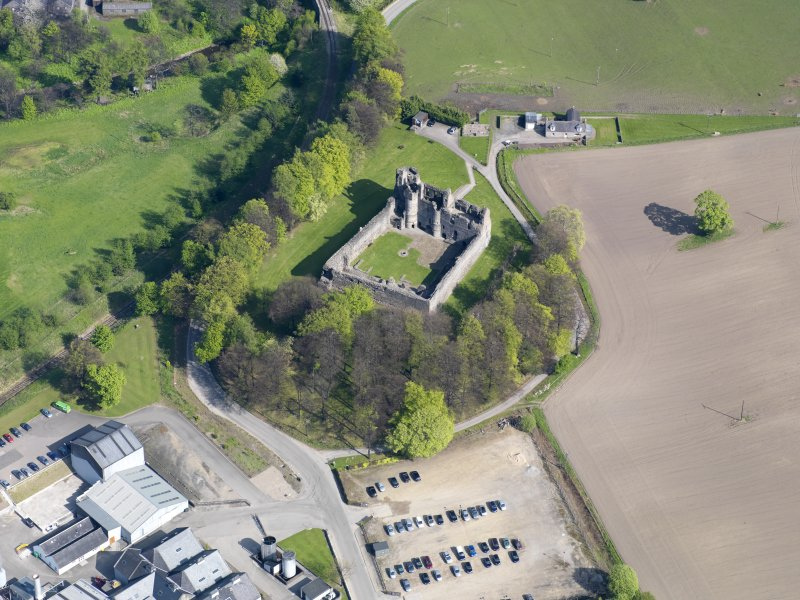 Oblique aerial view of Balvenie Castle, taken from the W.