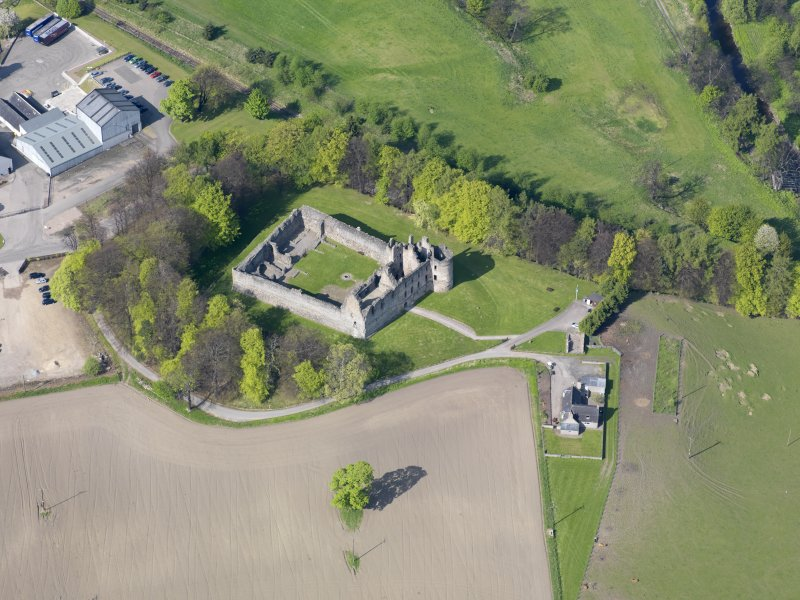 Oblique aerial view of Balvenie Castle, taken from the S.