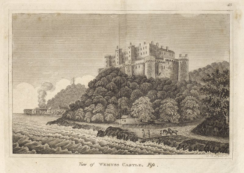 Engraving of Wemyss Castle, Fife, from shore below. There are sheds on shore to the west. Titled 'View of Wemyss Castle, Fife. 43. D. B. Pyet Sc.'