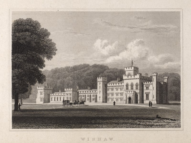 Engraving of Wishaw House. Front view from lawn. Titled 'Wishaw, Lanarkshire.'