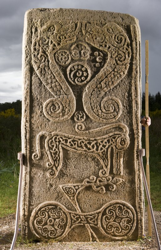 View of the reverse of the Rodney Stone, Pictish cross slab (flash, with scale)