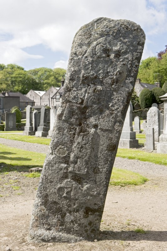 View of front of Pictish cross slab, Mortlach