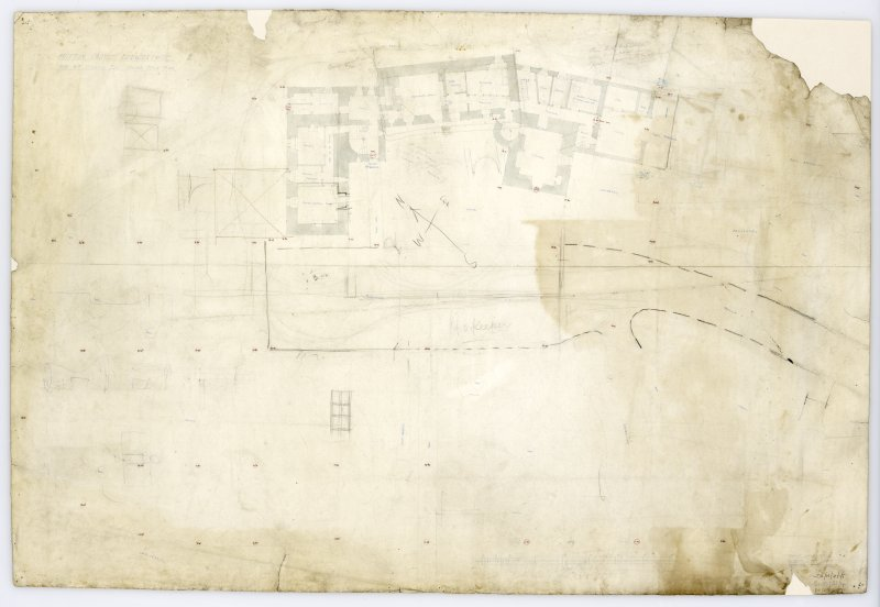 Ground Floor Plan showing proposed alterations. Title:  'Hutton Castle Berwickshire For Wm Burrell Esq. Ground Floor Plan'