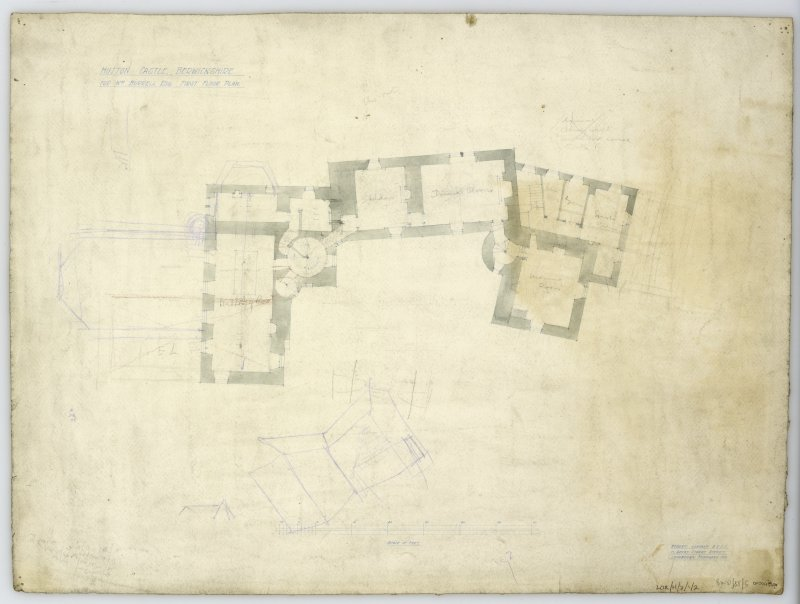 First Floor Plan showing proposed alterations. Title: 'Hutton Castle Berwickshire For Wm Burrell Esq. First Floor Plan'