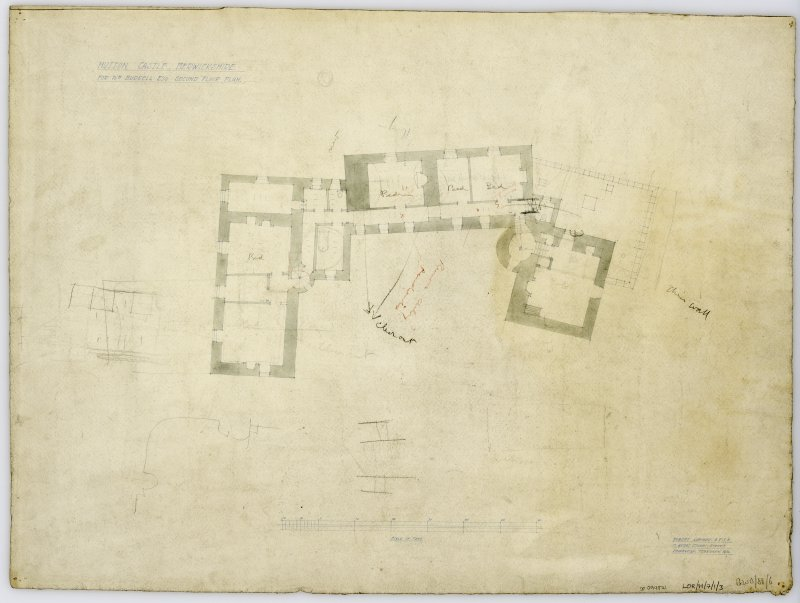 Second Floor Plan showing proposed alterations. Title: 'Hutton Castle Berwickshire For Wm Burrell Esq. Second Floor Plan'