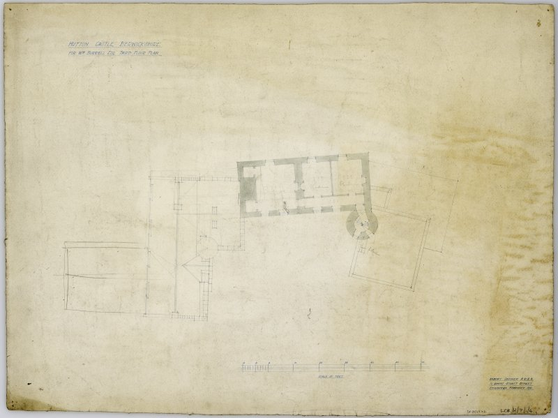 Third Floor Plan showing proposed alterations. Title: 'Hutton Castle Berwickshire For Wm Burrell Esq. Third Floor Plan'