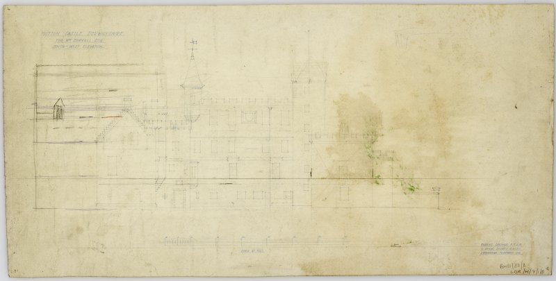 South - West Elevation showing proposed alterations. Title: 'Hutton Castle Berwickshire For Wm Burrell Esq.  South-West Elevation'