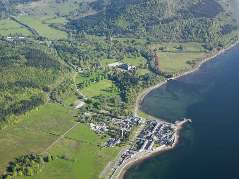 General oblique aerial view of the village of Inveraray and Inveraray country house and policies, taken from the SSW.