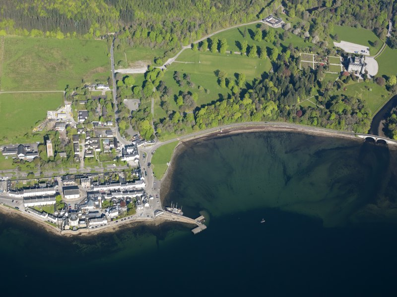 Oblique aerial view of Inveraray village with Inveraray castle adjacent, taken from the SE.