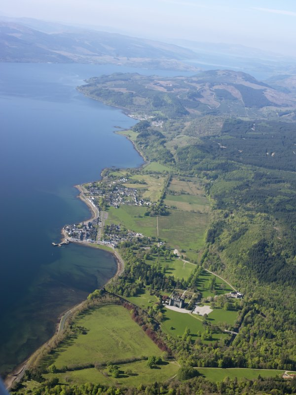 General oblique aerial view looking down Loch Fyne across Inveraray castle and Inveraray Town, taken from the NNE.