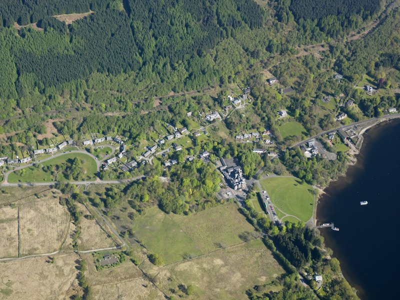 General oblique aerial view of Tarbet village, taken from the SSW.