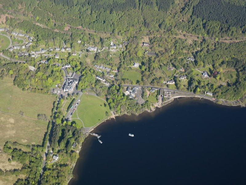 General oblique aerial view of Tarbet village, taken from the SSE.