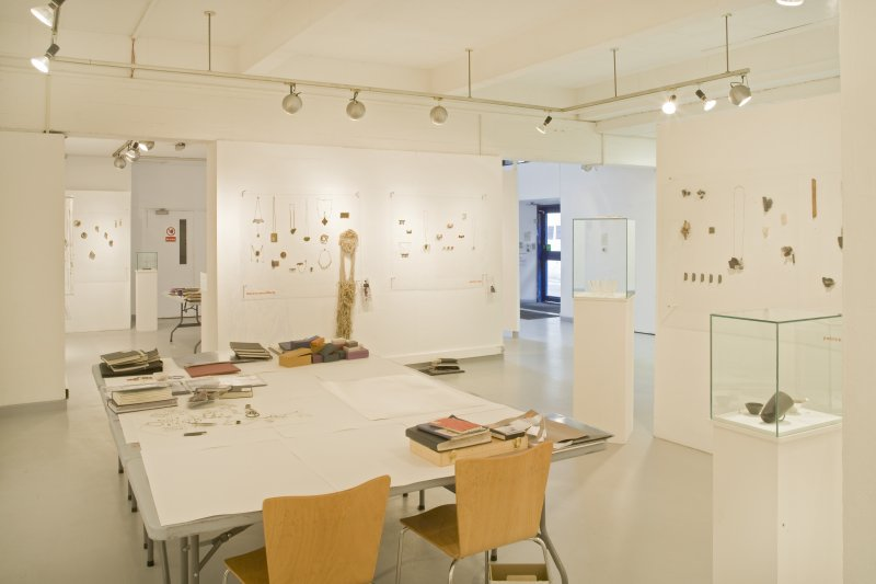 View of Newbery Tower ground floor exhibition area set up for the Silversmithing and Jewellery degree show