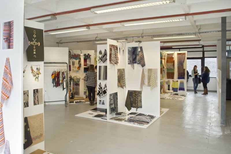 View of studio space within Newbery Tower set up for the Fashion and Textiles degree show