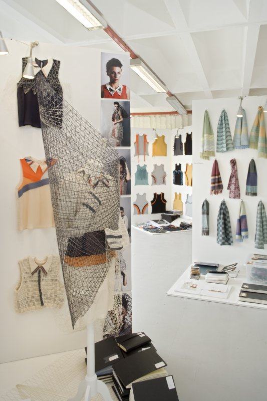 Detail of exhibits in the Fashion and Textiles degree show, within the studio space of Newbery Tower