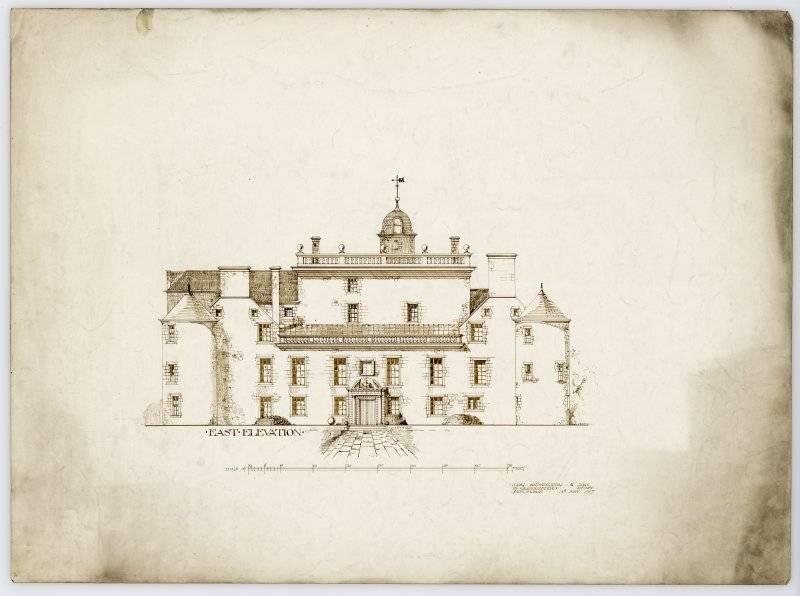 Drawing showing East elevation of Hatton House From a portfolio of drawings titled: 'Hatton House, Alterations for William Whitelaw, Esq.'